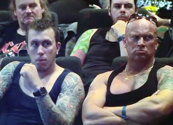 Watch 148 Bikers Take Over a Theater to Make a Point