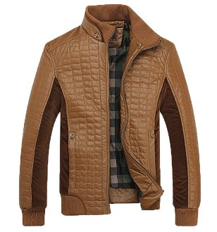 Men's Stand Collar Faux Leather Jacket