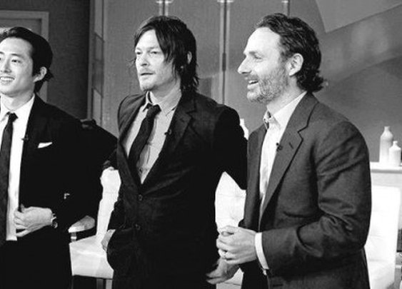 Steven Yeun, Norman Reedus et Andrew Lincoln