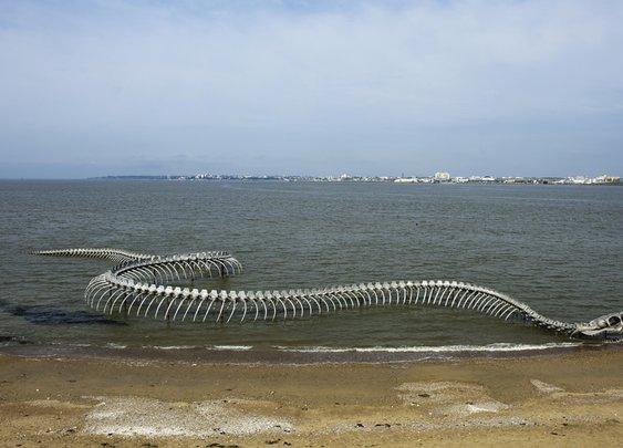 Giant Serpent Skeleton Sculpture