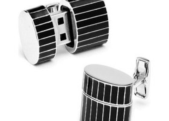 Men's Pinstripe Oval USB Cufflinks
