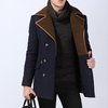 Men's Two Tone Fold Over Coat with Faux Leather Trim