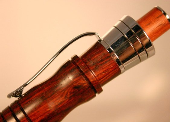 Wood pen in cocobolo handcrafted like chess king by Hope & Grace Pens