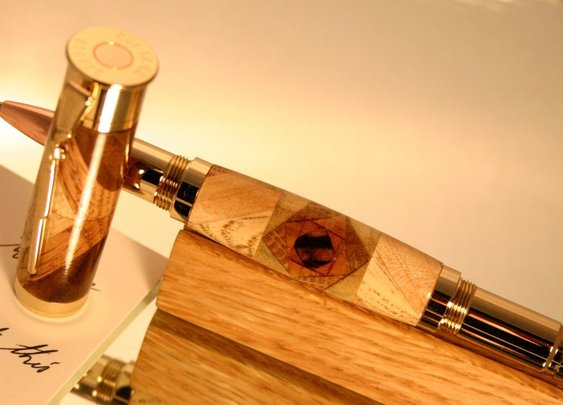 Shotgun bullet pen with spiral in wood menagerie by Hope & Grace Pens