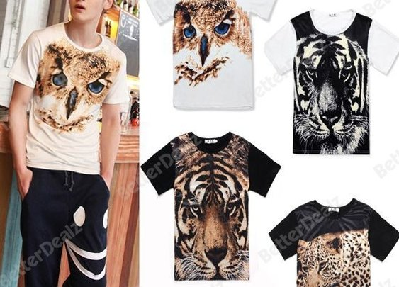 4colors Mens Ladies Fashion Unisex Leopard Tiger Owl Animal Pattern Short Sleeve T-Shirt Top Shirt
