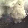 Erupting volcano filmed by drone