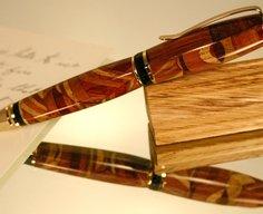 Hefty wood pen in abstract kaleidoscope pattern by Hope & Grace Pens