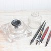 Vintage Inkwell Glass Ink Well Antique Pen Nibs Lead by MollyFinds