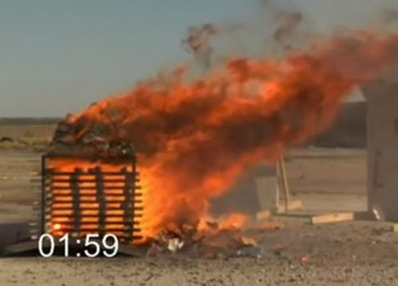 What happens when cases of ammunition are set on fire?