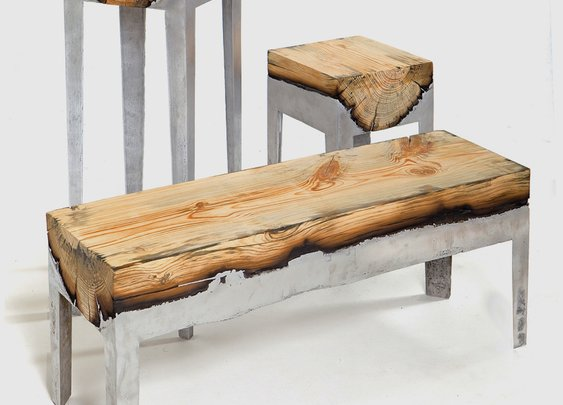 Molten Aluminium and Charred Wood Furniture