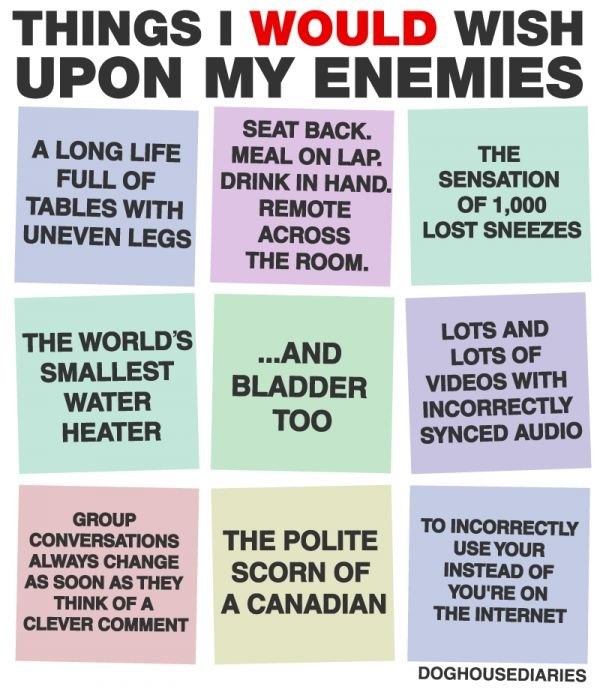 Things I Would Wish Upon My Enemies - Neatorama