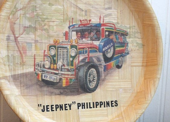 Jeepney Phillipines Souvenir Bamboo Tray