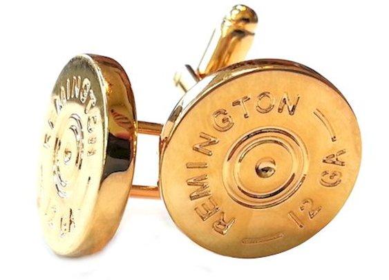 Remington 12 Gauge Shotgun Shell Gold Cufflinks - Groomsmen Gifts