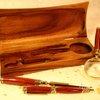 Wood pen desk set includes pen, glass and letter o by Hope & Grace Pens