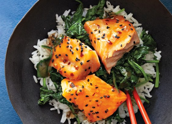 Asian Salmon Bowl with Lime Drizzle Recipe | Epicurious.com