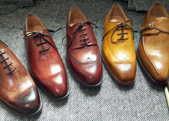 the shoes undergo a meticulous polishing process, using creams and waxes