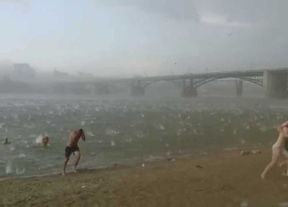 A sudden hail storm in Novosibirsk (Russia)