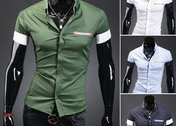 Men's Contrasting Cuff Stretch Short Sleeve Shirt