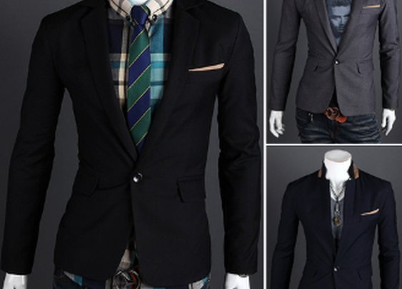 Men's Blazer with Contrasting Details