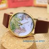 World Map Leather Men's Watch