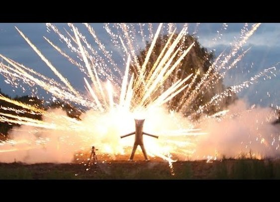 FIREWORK SAFETY SUIT-Stand INSIDE a fireworks display - YouTube