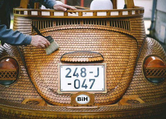 A VW Beetle Made Entirely Out of Wood