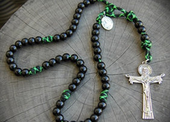Unique rosary made out of Zombie green paracord.