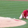 Marine tosses grenade-style first pitch - YouTube