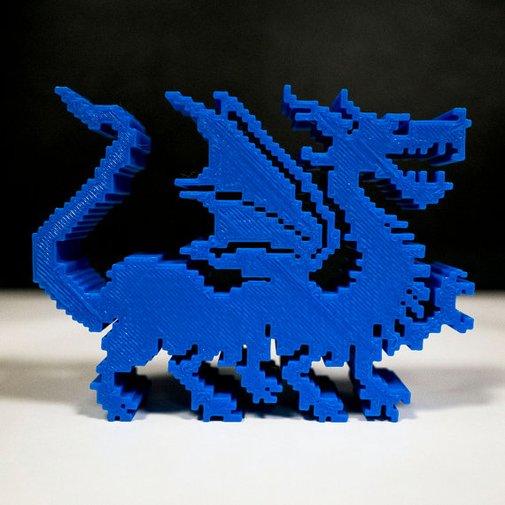 3D printed 8bit Dragon blue video game by blackbirdandpeacock