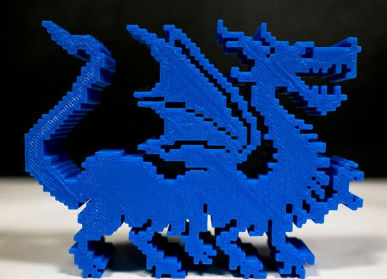 3D printed 8bit Dragon blue video game by blackbirdandpeacock