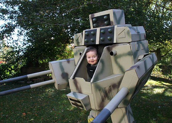 Father Builds a Life-Sized 'MechWarrior' Halloween Costume for Him and His Six-Month-Old Son