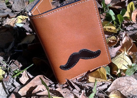 Leather Wallet For 4 Credit Cards With Moustaches Design  by snis