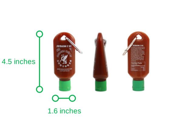 Sriracha2Go: A miniature refillable sriracha bottle.