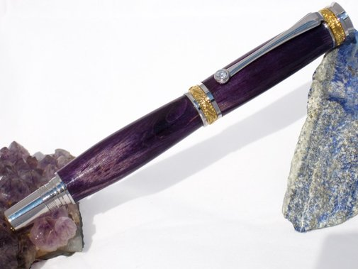 Deep Purple maple wood pen in rhodium and gold by Hope & Grace Pens