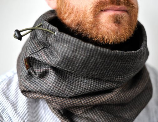 Snock™ unisex hooded cowl in patchwork wool/cotton blend by jaffic
