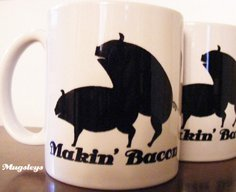 Makin Bacon Coffee Mug with Pigs  Making Bacon  by Mugsleys