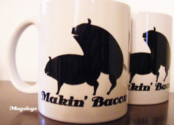 Makin Bacon Coffee Mug with Pigs  Making Bacon  by Mugsleys