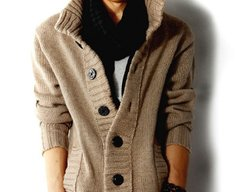 Men's High Collar Cardigan