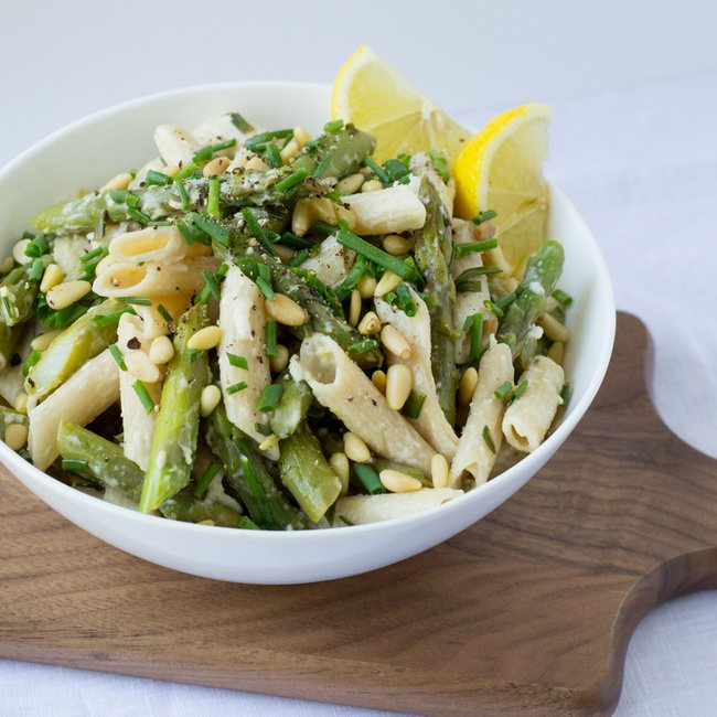 Asparagus, Goat Cheese & Lemon Pasta with Pine Nuts & Chives ...