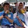Novak Djokovic Shares Umbrella with Ball Boy