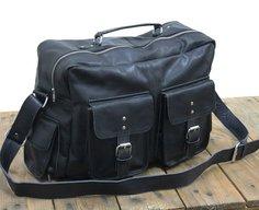 Vintage Leather Flight Bag 16 Black Messenger by neovintagebags