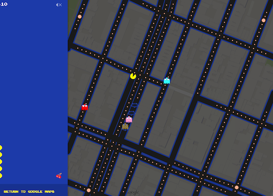 Pac-Man On Google Maps Right Now