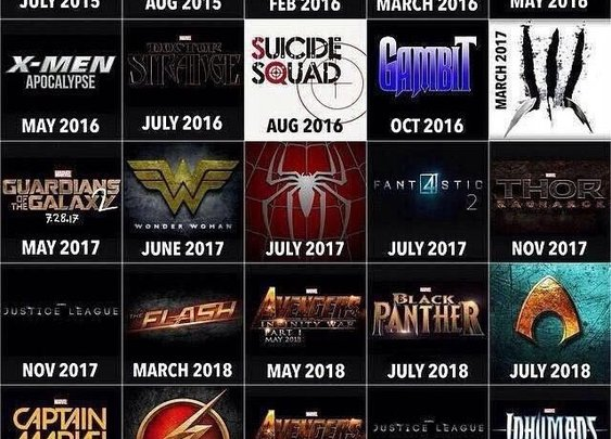 Chart Of Upcoming Superhero Movies For Next 4 Years | Geekologie