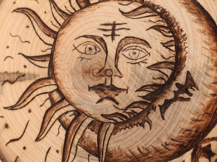 Celestial sky hanging wood burn display Sun and Mo by Hope & Grace Pens