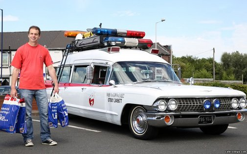 A Man Recreates the Iconic Ecto-1 'Ghostbusters' Car From a Classic 1960 Cadillac Miller-Meteor