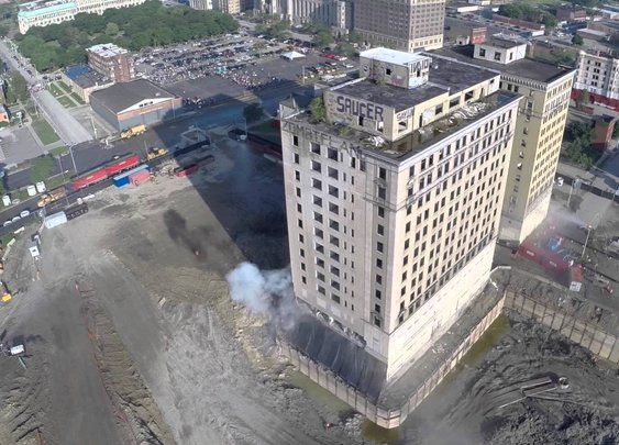 Incredible Drone Footage of the 'Zombieland' Park Avenue Hotel Implosion in Detroit