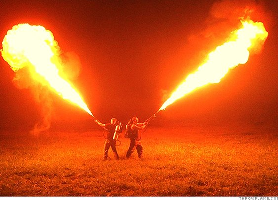 Flamethrowers, given up by military, are now being sold to the public - Aug. 13, 2015