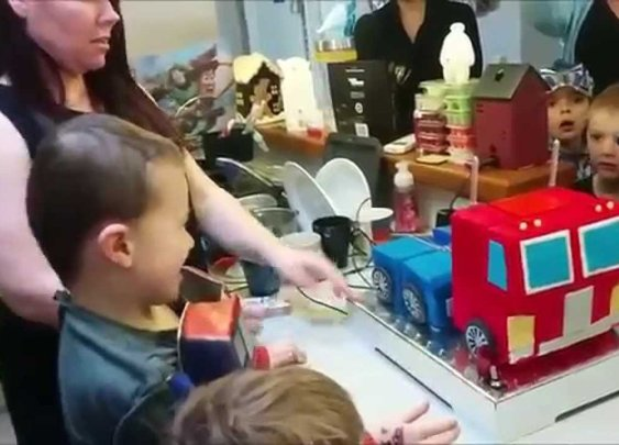 Parents Build a Working Optimus Prime Cake That Transforms From Truck to Robot for Their Son's Sixth Birthday
