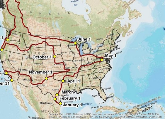 A Year-Long U.S. Road Trip for People Who Want 70-Degree Weather Every Day - CityLab