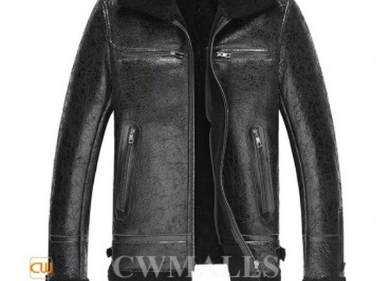 Melbourne Mens Black Sheepskin Coat Pea Coat CW819492   Gentlemint